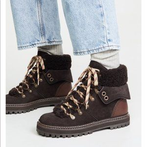 See by Chloe Eileen Leather Suede Hiker Ankle Boot